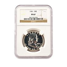 1961 PF67 NGC Benjamin Franklin 90% Silver Half Dollar
