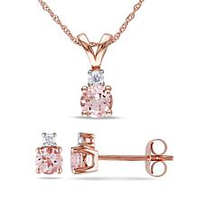 2 Pc Set Of 1/10 Ct Diamond Tw And 1-1/5 Ct Tgw Morganite Fashion Earrings & Pendant With Chain 10k