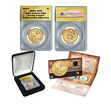 2019-P EU70 FDOI LE 613 Native American $1 Coin and Currency Note Set