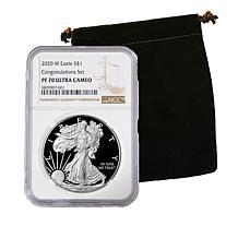 """2020 PF70 NGC """"Congratulations"""" Silver Eagle Dollar Coin"""