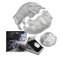 2021 LE 2000 Interlocked Bull v Bear 2-coin 99.99% Silver Set
