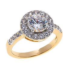 2.02ctw Absolute™ Gold-Plated Round and Pavé Halo Ring