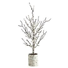 24 in. Snowed Twig Artificial Tree in Decorative Planter