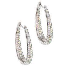 Absolute™ Aurora Borealis-Color Inside-Outside Oval Hoop Earrings