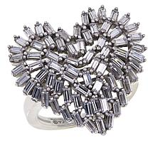 Absolute™ Sterling Silver Cubic Zirconia Baguette Heart-Shaped Ring
