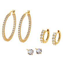 Absolute™ Sterling Silver Hugger, Hoop and Stud 3-piece Earrings Set
