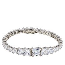 Absolute™ Sterling Silver Quadrillion-Cut Tennis Bracelet