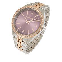 Absolute™ Women's Cubic Zirconia Colored Dial Bracelet Watch
