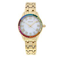Absolute™ Women's Rainbow Cubic Zirconia Bezel Bracelet Watch