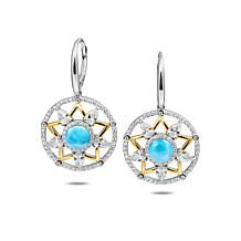 Alamea Sterling Silver Two-Tone Larimar and CZ Star Earrings