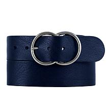 Amsterdam Heritage Ginette Double-Ring Navy Leather Belt