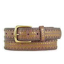 Amsterdam Heritage Nakita Studded Taupe Leather Belt