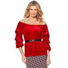 Antthony Velvet Ruffled-Sleeve Off-Shoulder Top