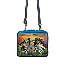 Anuschka Hand Painted Leather Crossbody Organizer