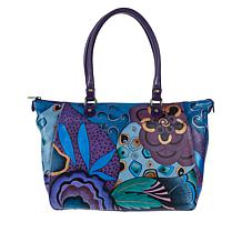Anuschka Hand-Painted Leather Tote with Organizer Wallet