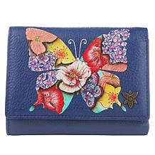 Anuschka Hand-Painted Leather Trifold Organizer Wallet