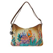Anuschka Hand-Painted Leather Zip-Front Hobo with Accessories