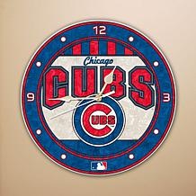Art Glass Wall Clock - Chicago Cubs