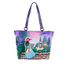 """As Is"" Anuschka Hand-Painted Leather Large Shoulder Tote"