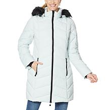 """""""As Is"""" Laurier Stretch Quilted Coat with Removable Faux Fur Trim Hood"""