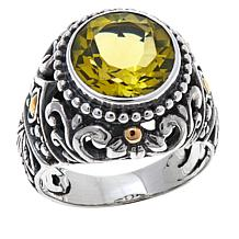 Bali Designs 3.2ct Round Lemon Quartz Scrollwork Ring