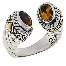 Bali Designs Oval Gemstone Cable Cuff Ring