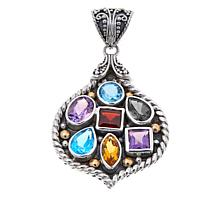 Bali Designs Sterling Silver and 18K Gold Multigemstone Pendant