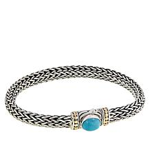 Bali Designs Sterling Silver and 18K Turquoise Woven Chain Bracelet