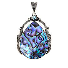 Bali RoManse  Abalone Doublet and Swiss Blue Topaz Pear Pendant