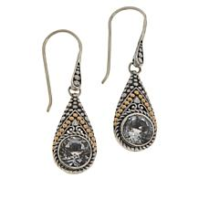 Bali RoManse Sterling Silver and 18K Gem Popcorn Pattern Drop Earrings
