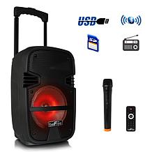 """beFree Sound 8"""" 400W Bluetooth Portable Party PA Speaker with Lights"""