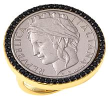 Bellezza 100 Lira Coin Black Spinel Bronze Border Ring