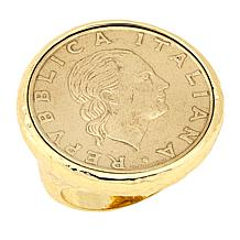 Bellezza 200 Lira Coin Bronze Hammered Ring