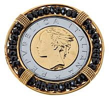 Bellezza 500 Lira Coin Bronze Black Spinel Brooch