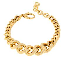 "Bellezza Bronze Graduated Hammered Curb-Link 7-1/2"" Bracelet"