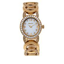 Bellezza Bronze Women's Cubic Zirconia Round Link Bracelet Watch