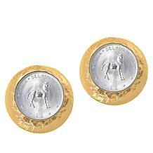 Bellezza Lamb of God 2 Lira Coin Bronze Stud Earrings