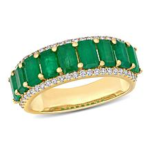 Bellini 14K Gold Octagonal Emerald and Diamond Semi-Eternity Ring