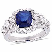 Bellini 14K White Gold Blue Sapphire and Diamond Cocktail Ring