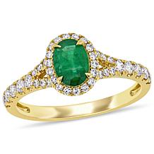 Bellini 14K Yellow Gold Diamond and Emerald Halo Split Shoulder Ring