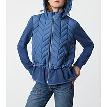 Bernardo Recycled Quilted Jacket with French Terry Combo