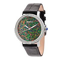 "Bertha ""Courtney"" Opal Dial Croc-Embossed Leather Strap Watch"
