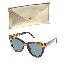 Bethenny Flared Square Sunglasses with Case and Cleaning Cloth