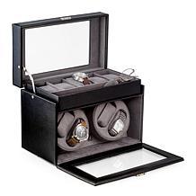 Bey-Berk Black Leather 4 Watch Winder and 5 Watch Storage Case