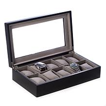Bey-Berk Matte Black Wood 10 Watch Box