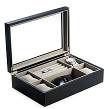 Bey-Berk Matte Black Wood Valet and Watch Box