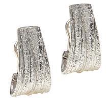 Bianca Milano Sterling Silver Wide Textured J-Hoop Earrings