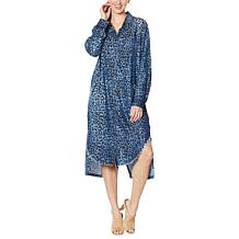 Billy T Blue Animal-Print Two-Way Shirtdress