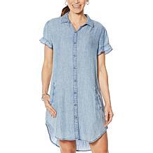 Billy T Ruffled Sleeve Chambray Shirt Dress