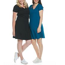 Blooming Women Maternity T-Shirt Dress Set of 2 - Black/Teal